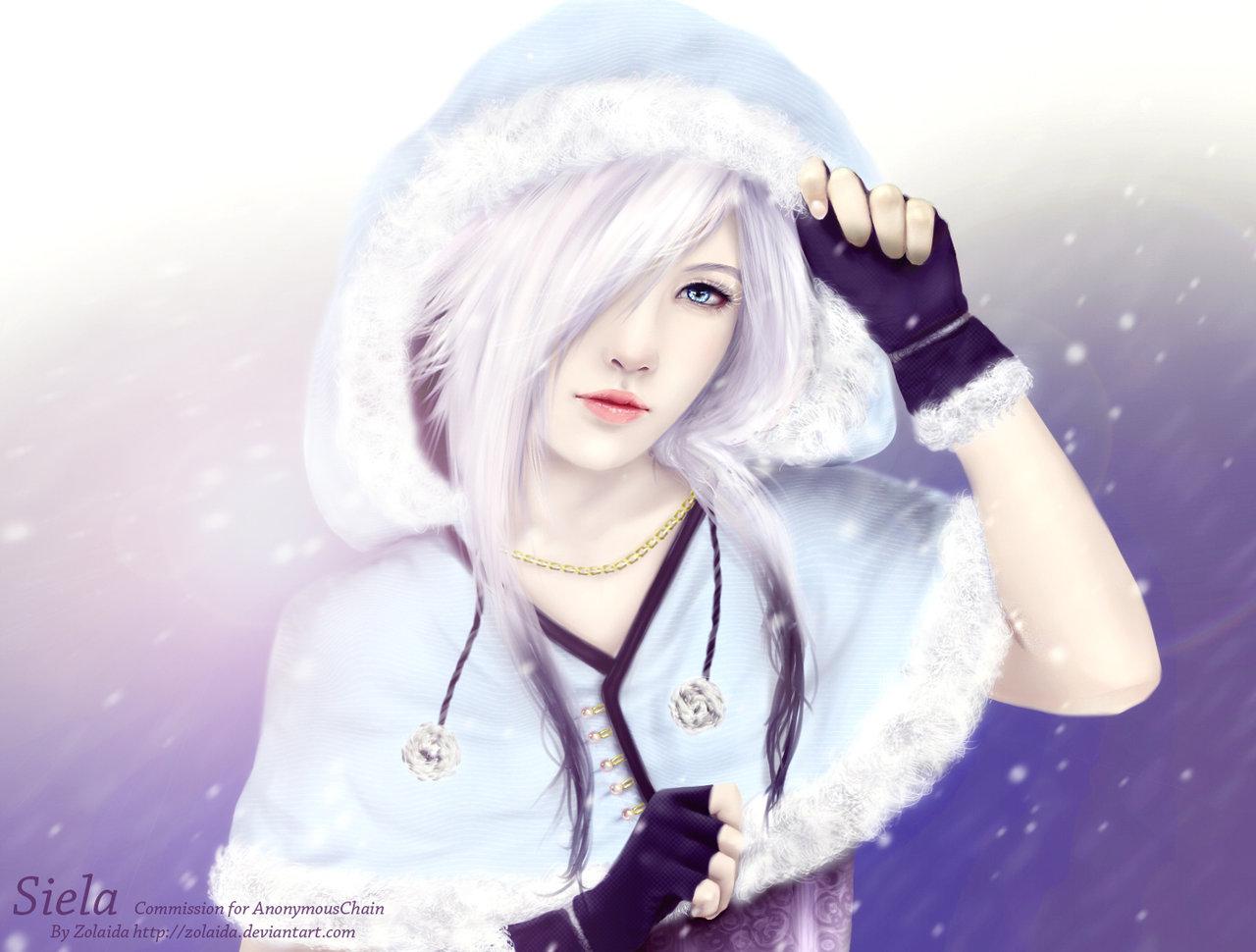 Anime Girl White Hair Blue Eyes
